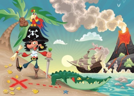 Pirate and parrot kids room wall mural